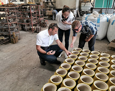 Mr Alex from Hawle Germany come to visit us, he is checking our Resin sand process.