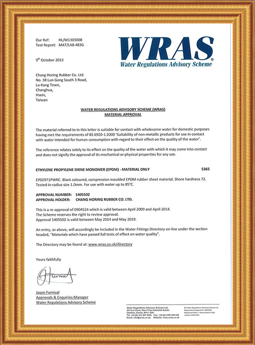 WRAS for EPDM Gasket